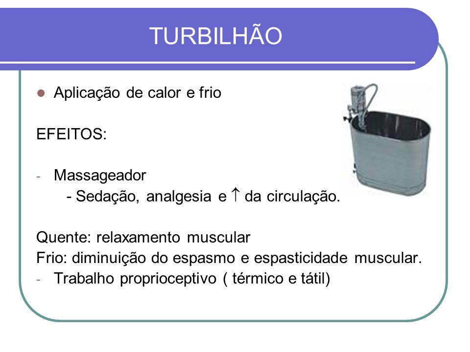 TURBILHÃO Aplicação de calor e frio EFEITOS: - Massageador - Sedação, analgesia e da circulação. Quente: relaxamento muscular Frio: diminuição do espa