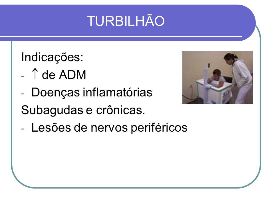 TURBILHÃO Indicações: - de ADM - Doenças inflamatórias Subagudas e crônicas. - Lesões de nervos periféricos