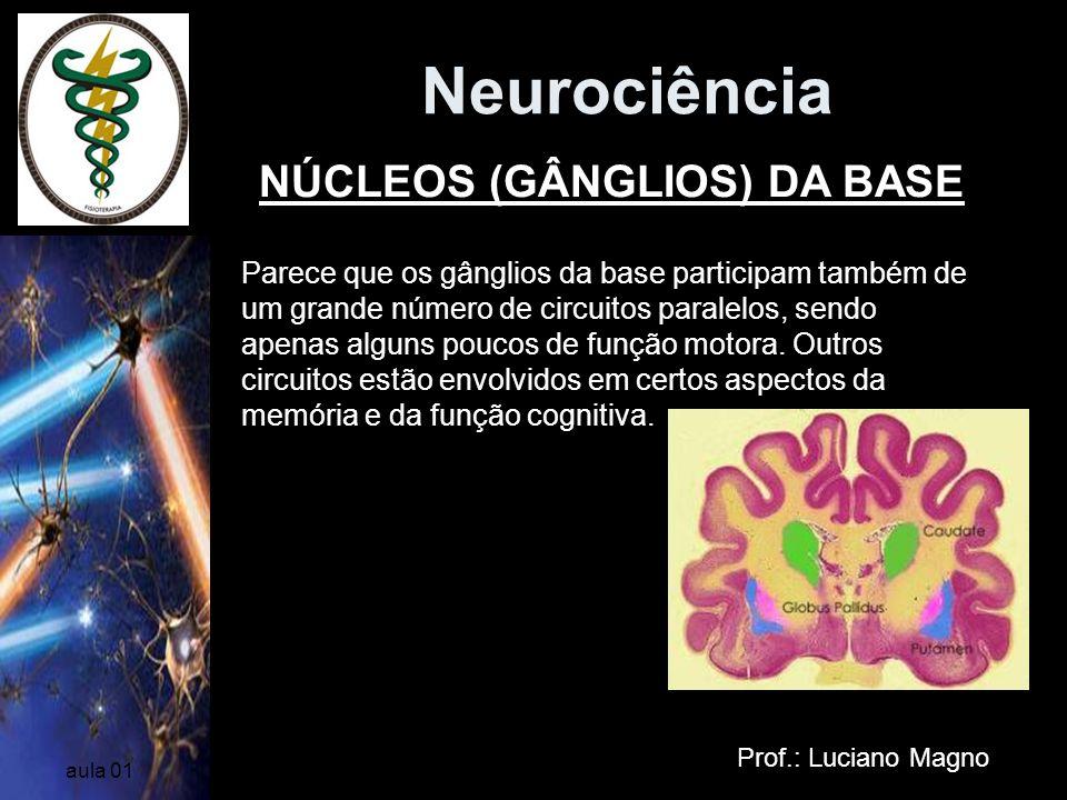 Neurociência Prof.: Luciano Magno aula 01 Parece que os gânglios da base participam também de um grande número de circuitos paralelos, sendo apenas al