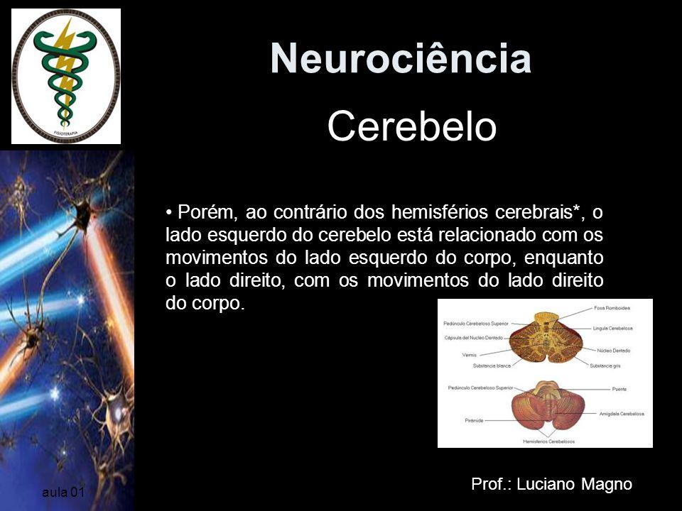 Neurociência Prof.: Luciano Magno aula 01 Cerebelo Dividido em dois hemisférios Porém, ao contrário dos hemisférios cerebrais*, o lado esquerdo do cer