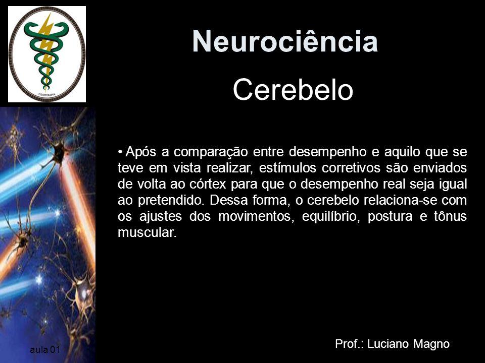 Neurociência Prof.: Luciano Magno aula 01 Após a comparação entre desempenho e aquilo que se teve em vista realizar, estímulos corretivos são enviados