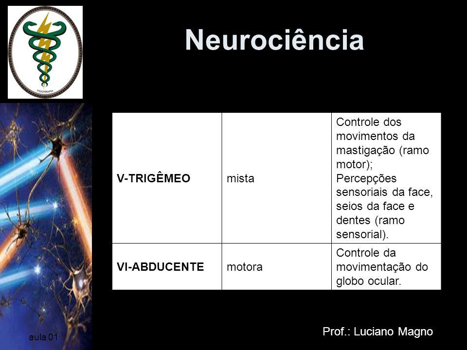 Neurociência Prof.: Luciano Magno aula 01 V-TRIGÊMEOmista Controle dos movimentos da mastigação (ramo motor); Percepções sensoriais da face, seios da
