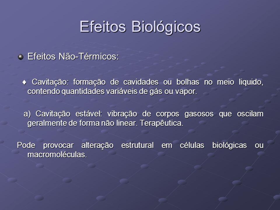 Efeitos Biológicos Efeitos Não-Térmicos: Cavitação: formação de cavidades ou bolhas no meio liquido, contendo quantidades variáveis de gás ou vapor. C