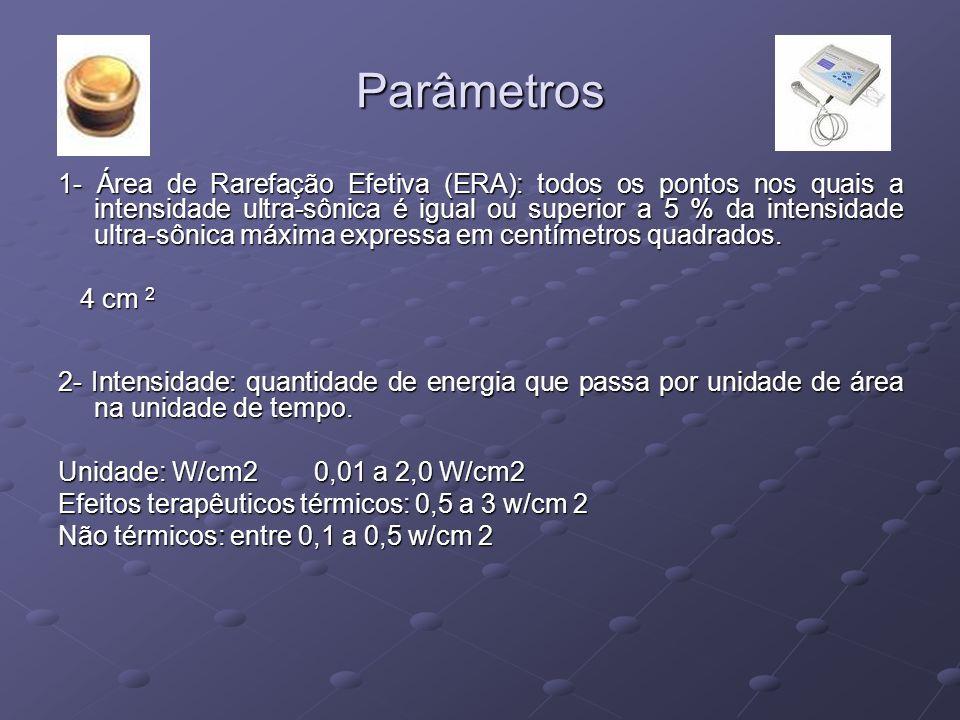 Parâmetros 1- Área de Rarefação Efetiva (ERA): todos os pontos nos quais a intensidade ultra-sônica é igual ou superior a 5 % da intensidade ultra-sôn