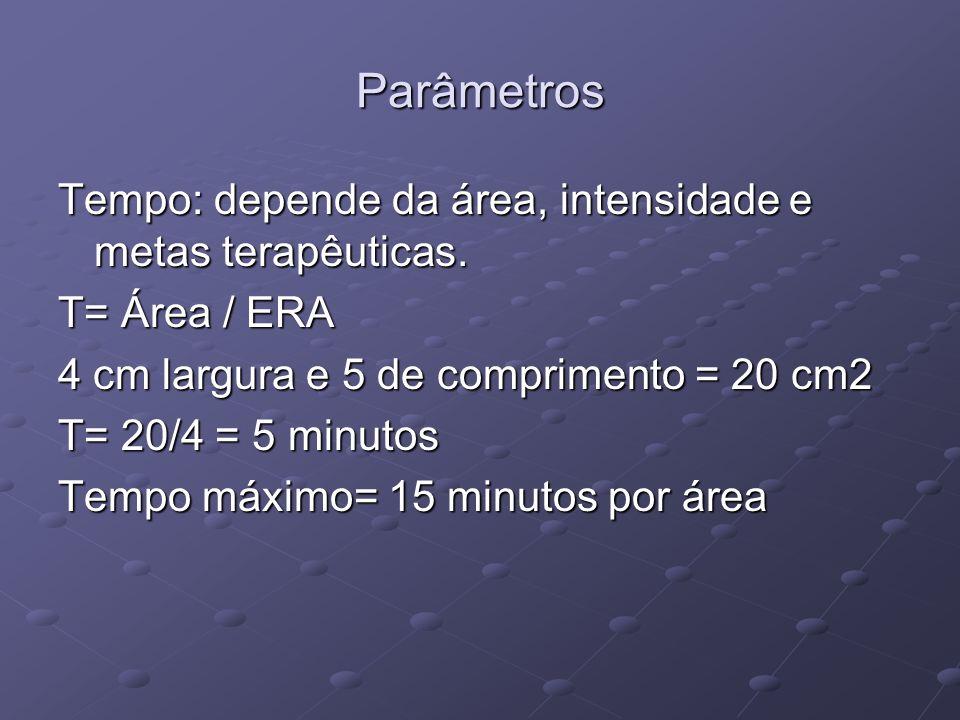Parâmetros Tempo: depende da área, intensidade e metas terapêuticas. T= Área / ERA 4 cm largura e 5 de comprimento = 20 cm2 T= 20/4 = 5 minutos Tempo