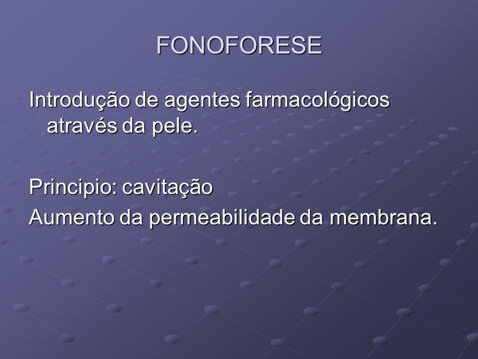 FONOFORESE Introdução de agentes farmacológicos através da pele. Principio: cavitação Aumento da permeabilidade da membrana.