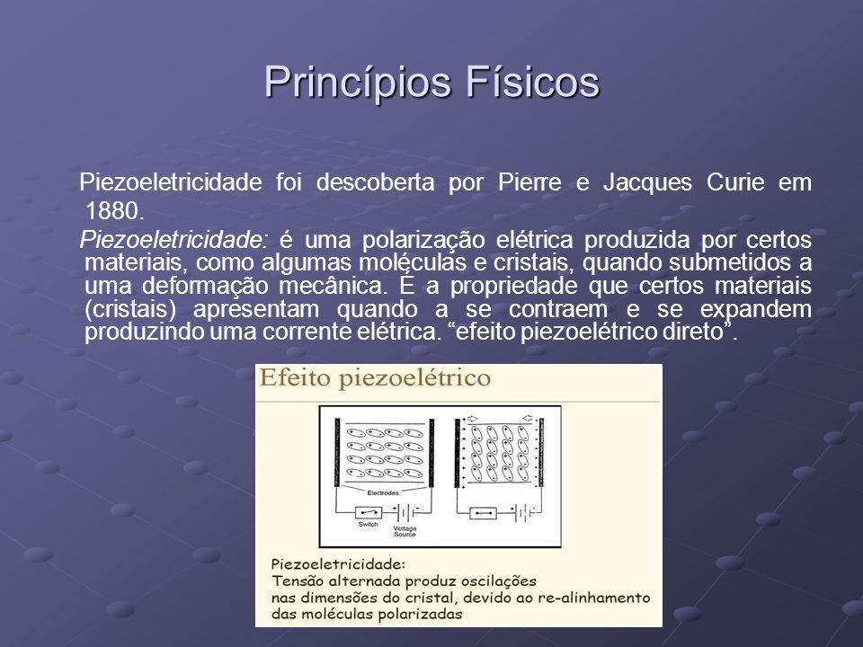 Princípios Físicos Piezoeletricidade foi descoberta por Pierre e Jacques Curie em 1880. Piezoeletricidade: é uma polarização elétrica produzida por ce