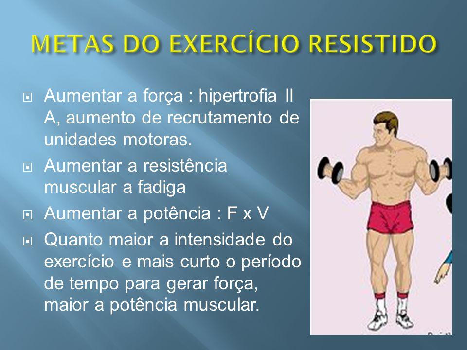 Aumentar a força : hipertrofia II A, aumento de recrutamento de unidades motoras. Aumentar a resistência muscular a fadiga Aumentar a potência : F x V