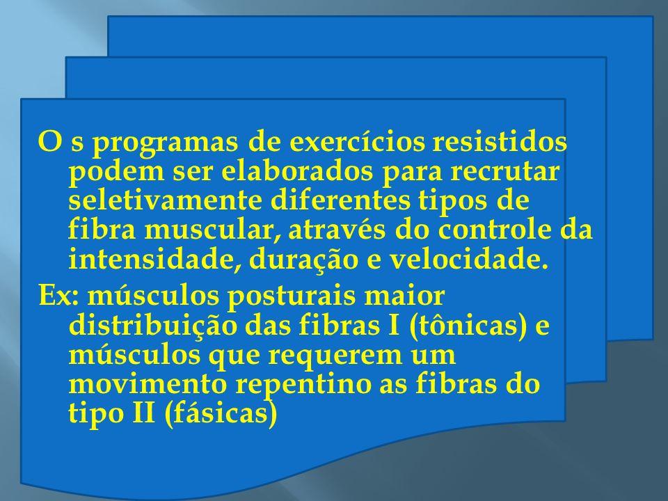 O s programas de exercícios resistidos podem ser elaborados para recrutar seletivamente diferentes tipos de fibra muscular, através do controle da int