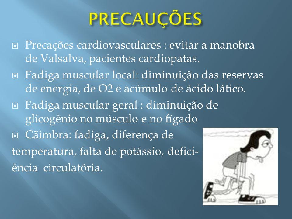 Precações cardiovasculares : evitar a manobra de Valsalva, pacientes cardiopatas. Fadiga muscular local: diminuição das reservas de energia, de O2 e a