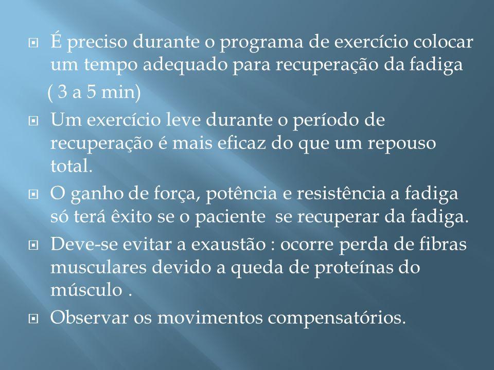 É preciso durante o programa de exercício colocar um tempo adequado para recuperação da fadiga ( 3 a 5 min) Um exercício leve durante o período de rec