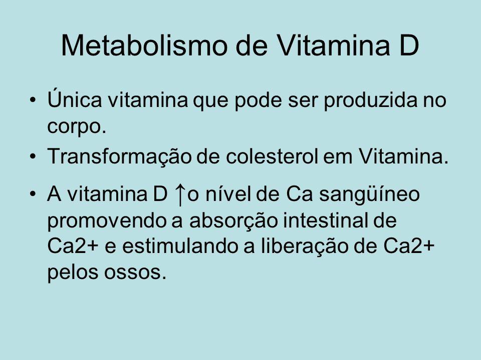 Metabolismo de Vitamina D Única vitamina que pode ser produzida no corpo. Transformação de colesterol em Vitamina. A vitamina D o nível de Ca sangüíne
