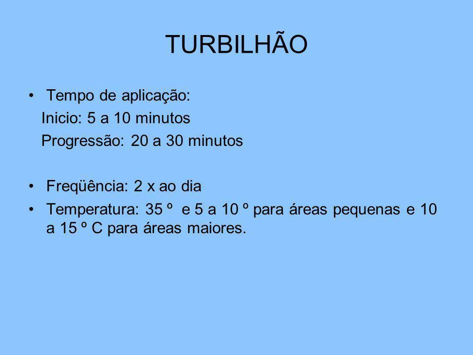 TURBILHÃO Tempo de aplicação: Inicio: 5 a 10 minutos Progressão: 20 a 30 minutos Freqüência: 2 x ao dia Temperatura: 35 º e 5 a 10 º para áreas pequen