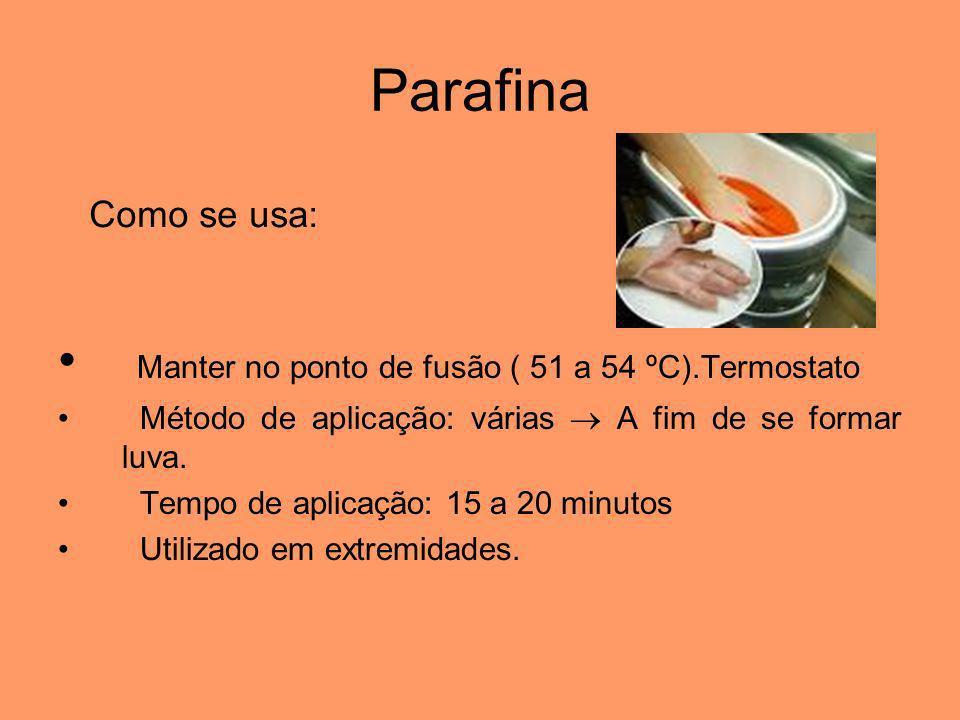 Parafina Manter no ponto de fusão ( 51 a 54 ºC).Termostato Método de aplicação: várias A fim de se formar luva. Tempo de aplicação: 15 a 20 minutos Ut