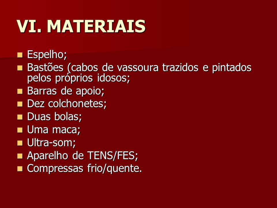 VI. MATERIAIS Espelho; Espelho; Bastões (cabos de vassoura trazidos e pintados pelos próprios idosos; Bastões (cabos de vassoura trazidos e pintados p