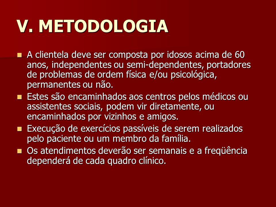 V. METODOLOGIA A clientela deve ser composta por idosos acima de 60 anos, independentes ou semi-dependentes, portadores de problemas de ordem física e