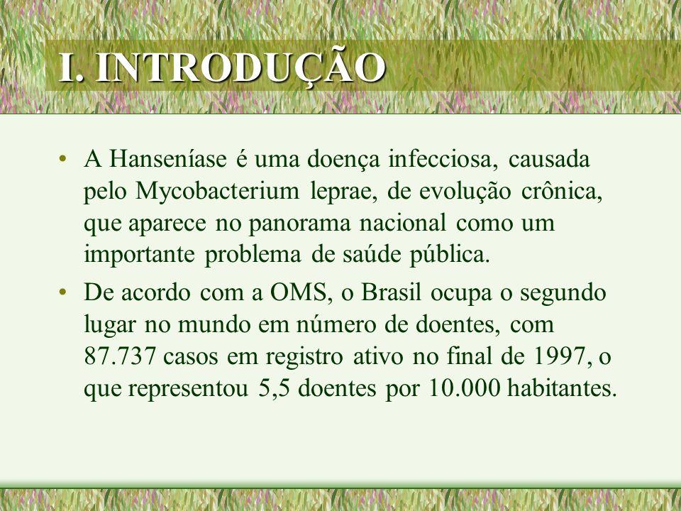 I. INTRODUÇÃO A Hanseníase é uma doença infecciosa, causada pelo Mycobacterium leprae, de evolução crônica, que aparece no panorama nacional como um i