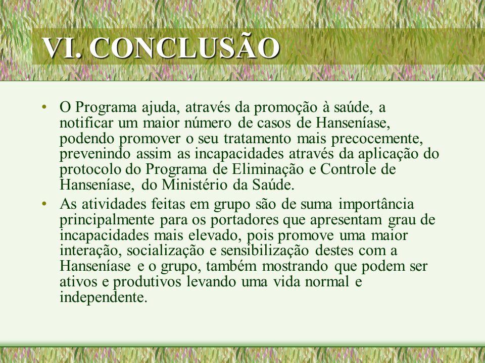 VI. CONCLUSÃO O Programa ajuda, através da promoção à saúde, a notificar um maior número de casos de Hanseníase, podendo promover o seu tratamento mai