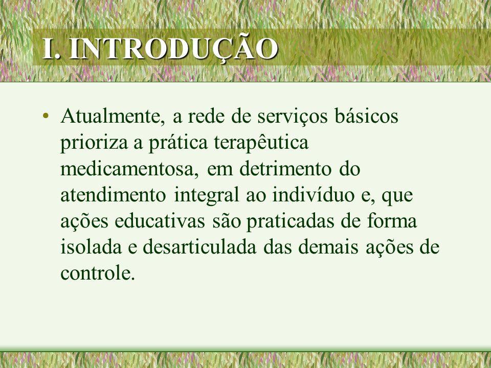 I. INTRODUÇÃO Atualmente, a rede de serviços básicos prioriza a prática terapêutica medicamentosa, em detrimento do atendimento integral ao indivíduo