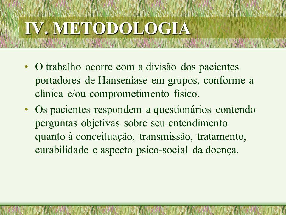IV. METODOLOGIA O trabalho ocorre com a divisão dos pacientes portadores de Hanseníase em grupos, conforme a clínica e/ou comprometimento físico. Os p