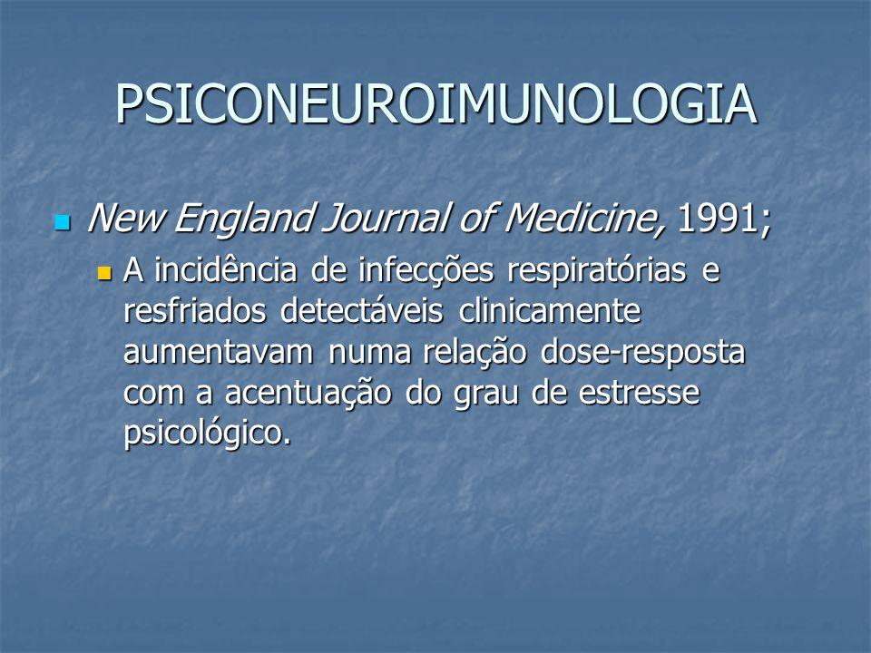 PSICONEUROIMUNOLOGIA New England Journal of Medicine, 1991; New England Journal of Medicine, 1991; A incidência de infecções respiratórias e resfriado