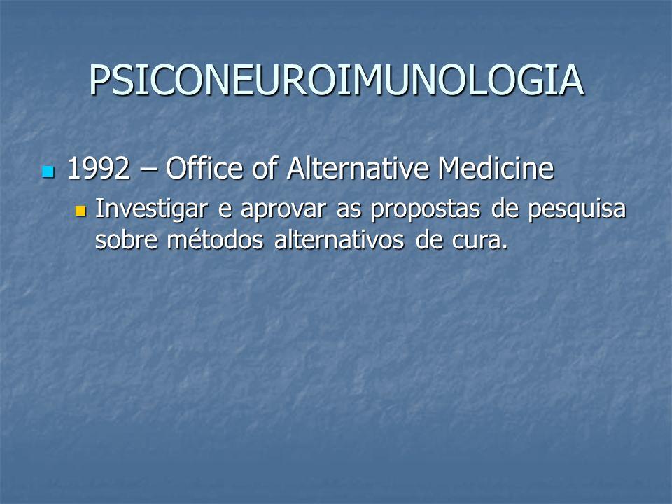 PSICONEUROIMUNOLOGIA 1992 – Office of Alternative Medicine 1992 – Office of Alternative Medicine Investigar e aprovar as propostas de pesquisa sobre m