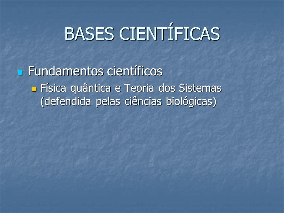 BASES CIENTÍFICAS Fundamentos científicos Fundamentos científicos Física quântica e Teoria dos Sistemas (defendida pelas ciências biológicas) Física q