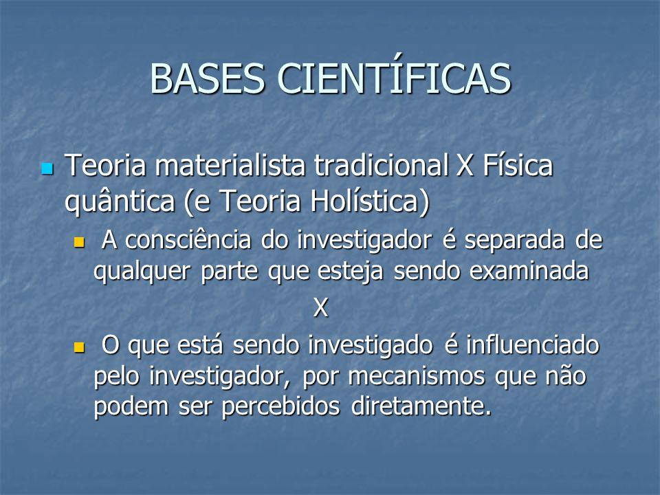 BASES CIENTÍFICAS Teoria materialista tradicional X Física quântica (e Teoria Holística) Teoria materialista tradicional X Física quântica (e Teoria H