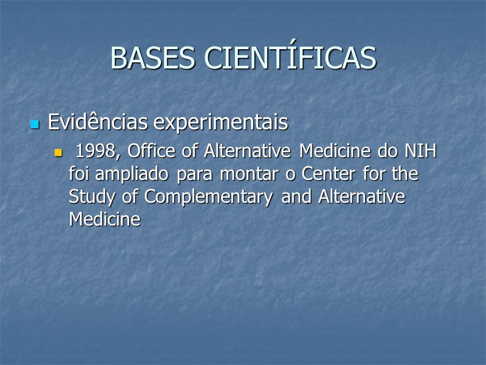 BASES CIENTÍFICAS Evidências experimentais Evidências experimentais 1998, Office of Alternative Medicine do NIH foi ampliado para montar o Center for