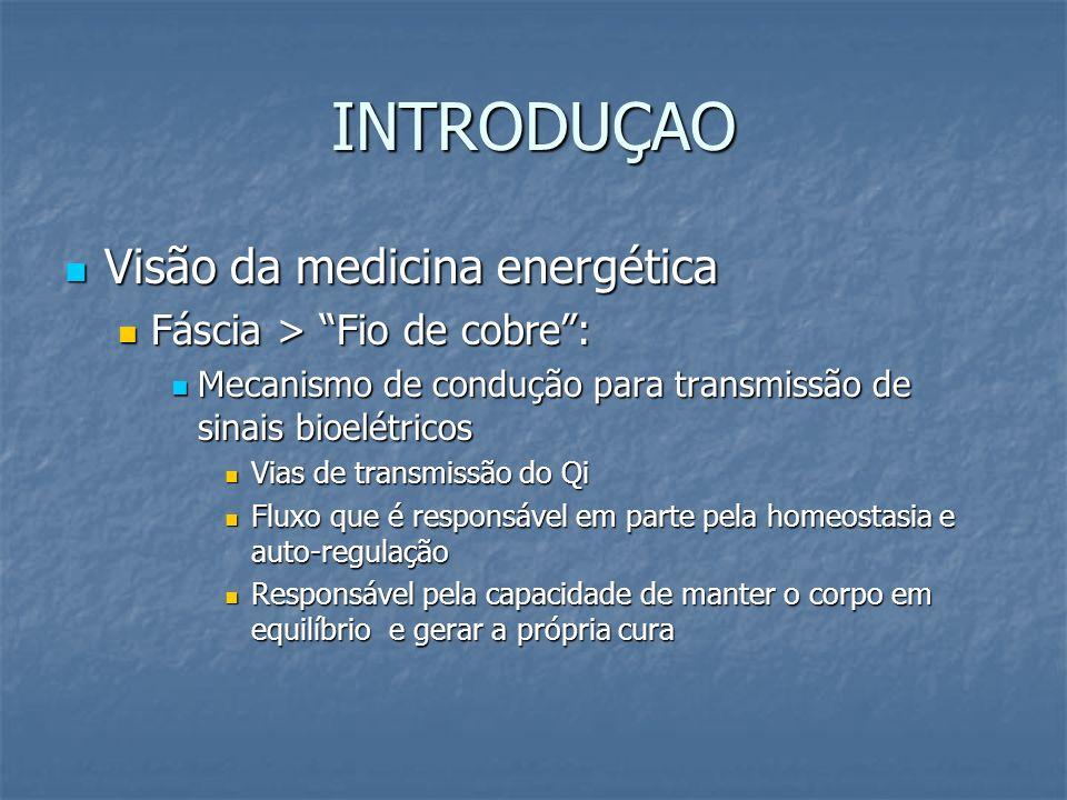 INTRODUÇAO Visão da medicina energética Visão da medicina energética Fáscia > Fio de cobre: Fáscia > Fio de cobre: Mecanismo de condução para transmis