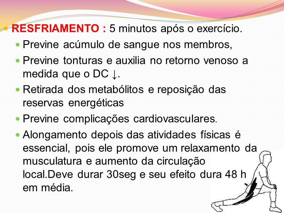 RESFRIAMENTO : 5 minutos após o exercício. Previne acúmulo de sangue nos membros, Previne tonturas e auxilia no retorno venoso a medida que o DC. Reti