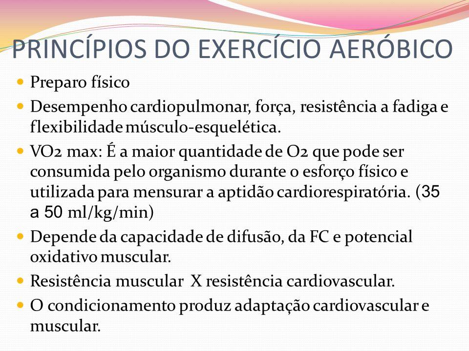 PRINCÍPIOS DO EXERCÍCIO AERÓBICO Preparo físico Desempenho cardiopulmonar, força, resistência a fadiga e flexibilidade músculo-esquelética. VO2 max: É
