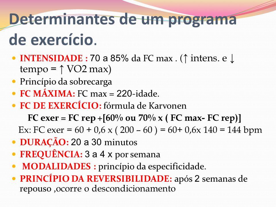 Determinantes de um programa de exercício. INTENSIDADE : 70 a 85% da FC max. ( intens. e tempo = VO2 max) Princípio da sobrecarga FC MÁXIMA: FC max =