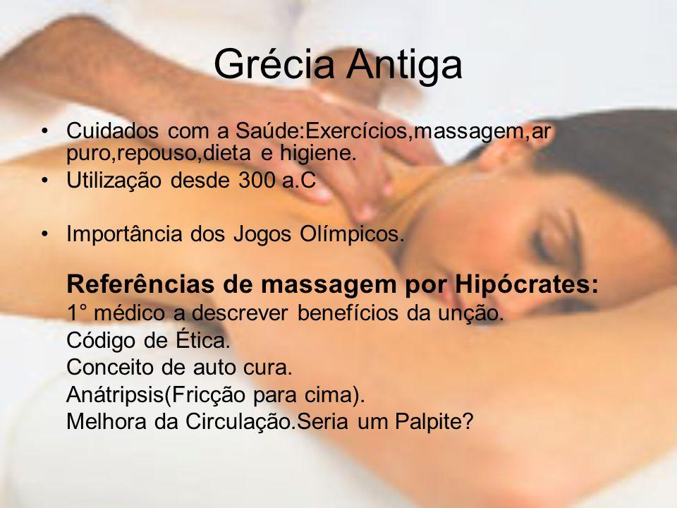 Grécia Antiga Cuidados com a Saúde:Exercícios,massagem,ar puro,repouso,dieta e higiene. Utilização desde 300 a.C Importância dos Jogos Olímpicos. Refe