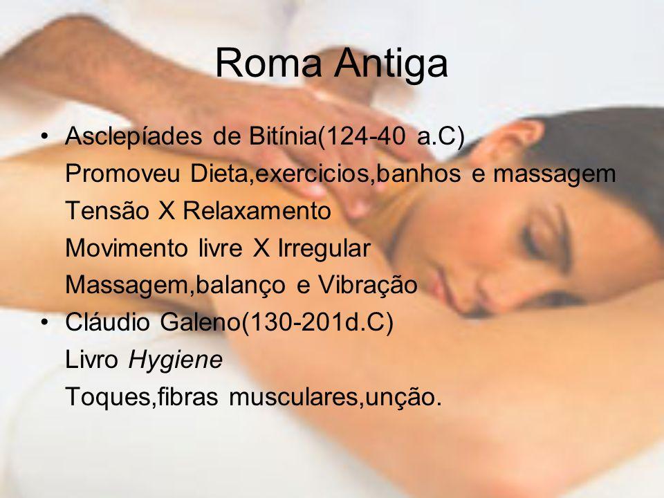 Roma Antiga Asclepíades de Bitínia(124-40 a.C) Promoveu Dieta,exercicios,banhos e massagem Tensão X Relaxamento Movimento livre X Irregular Massagem,b
