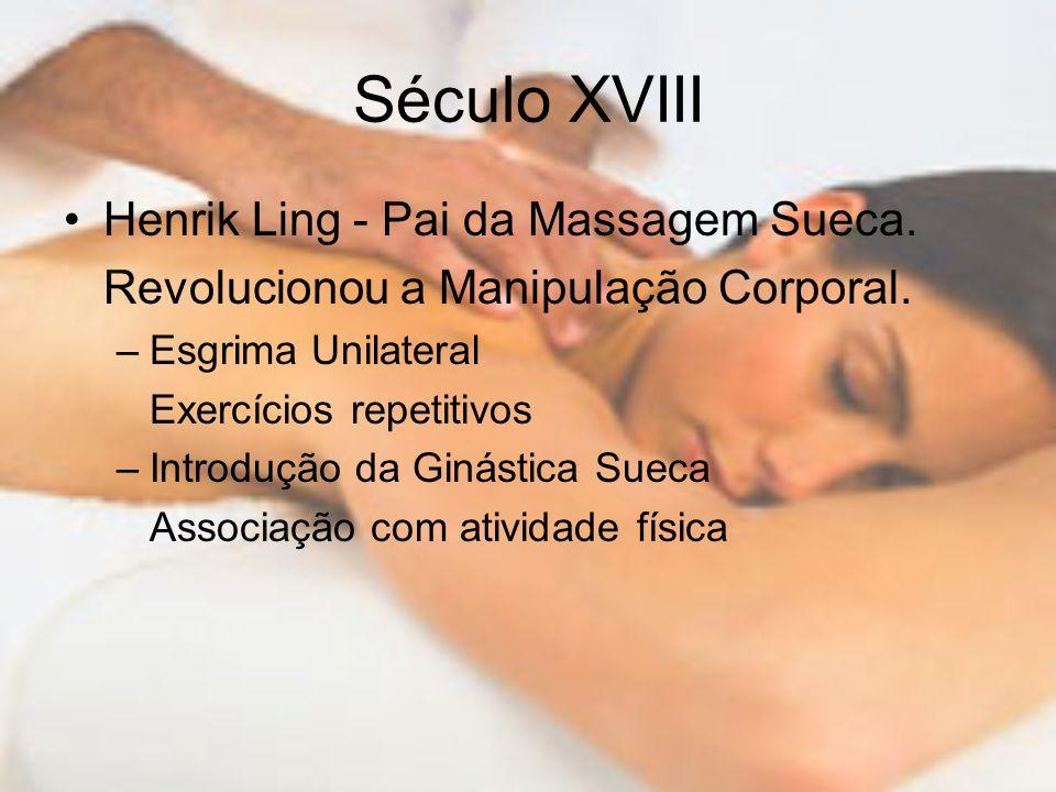 Século XVIII Henrik Ling - Pai da Massagem Sueca. Revolucionou a Manipulação Corporal. –Esgrima Unilateral Exercícios repetitivos –Introdução da Ginás
