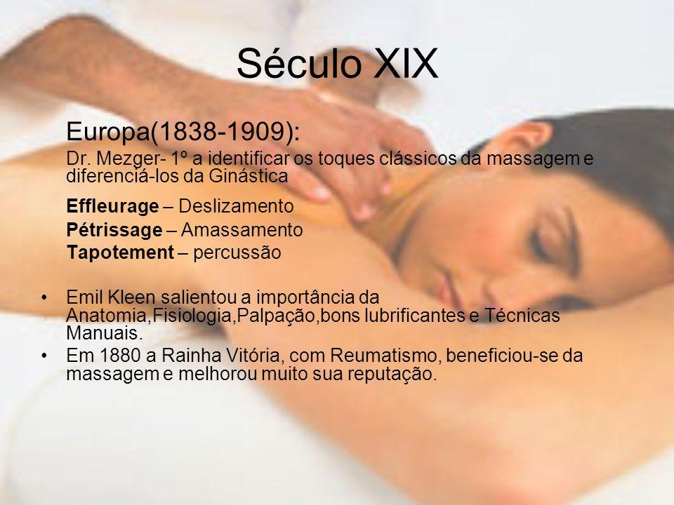 Século XIX Europa(1838-1909): Dr. Mezger- 1º a identificar os toques clássicos da massagem e diferenciá-los da Ginástica Effleurage – Deslizamento Pét