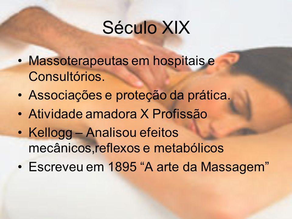 Século XIX Massoterapeutas em hospitais e Consultórios. Associações e proteção da prática. Atividade amadora X Profissão Kellogg – Analisou efeitos me
