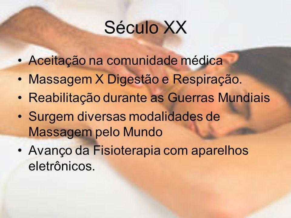 Século XX Aceitação na comunidade médica Massagem X Digestão e Respiração. Reabilitação durante as Guerras Mundiais Surgem diversas modalidades de Mas
