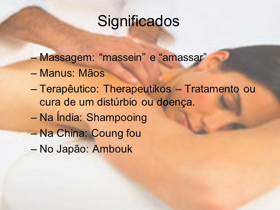 Significados –Massagem: massein e amassar –Manus: Mãos –Terapêutico: Therapeutikos – Tratamento ou cura de um distúrbio ou doença. –Na Índia: Shampooi