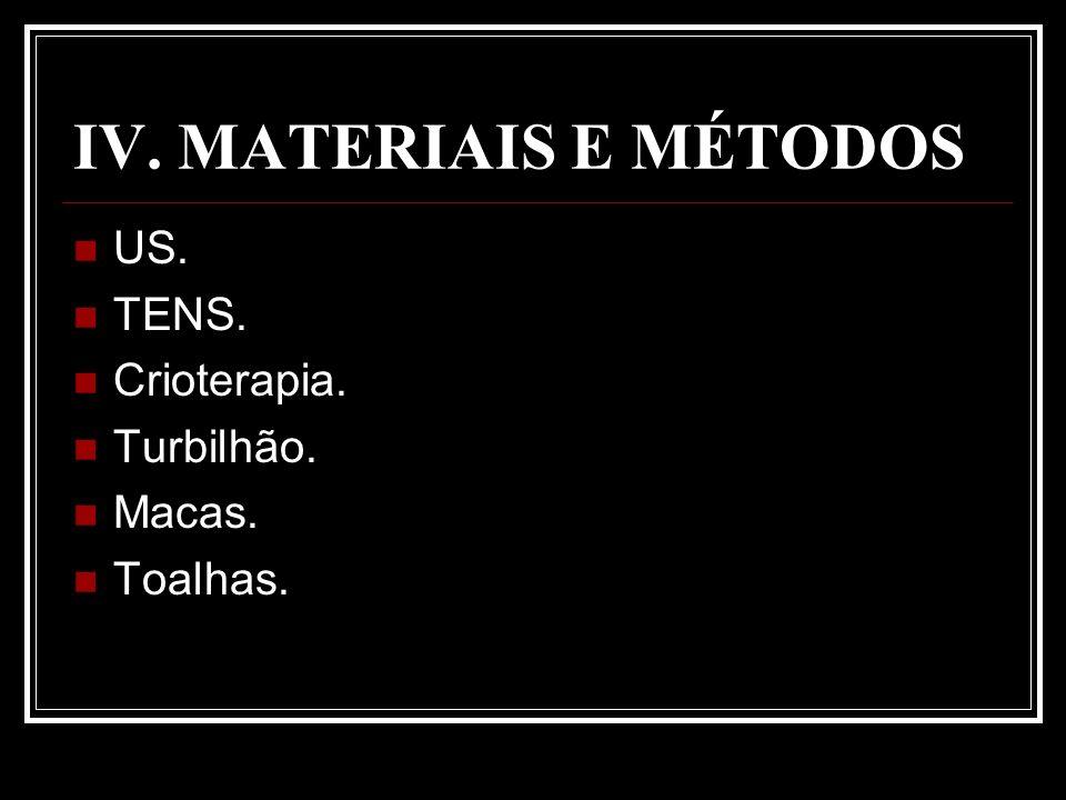 IV. MATERIAIS E MÉTODOS US. TENS. Crioterapia. Turbilhão. Macas. Toalhas.