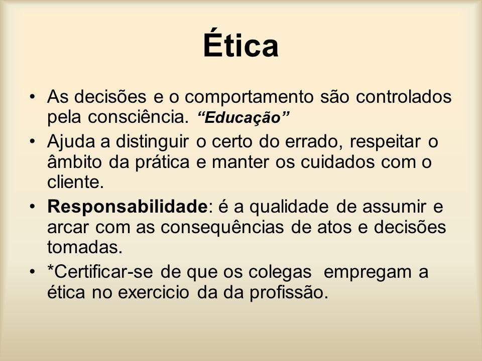 Ética As decisões e o comportamento são controlados pela consciência. Educação Ajuda a distinguir o certo do errado, respeitar o âmbito da prática e m