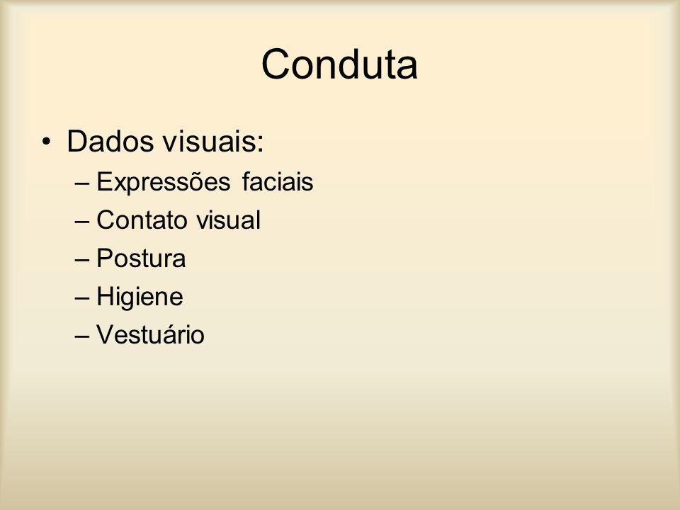 Conduta Dados visuais: –Expressões faciais –Contato visual –Postura –Higiene –Vestuário
