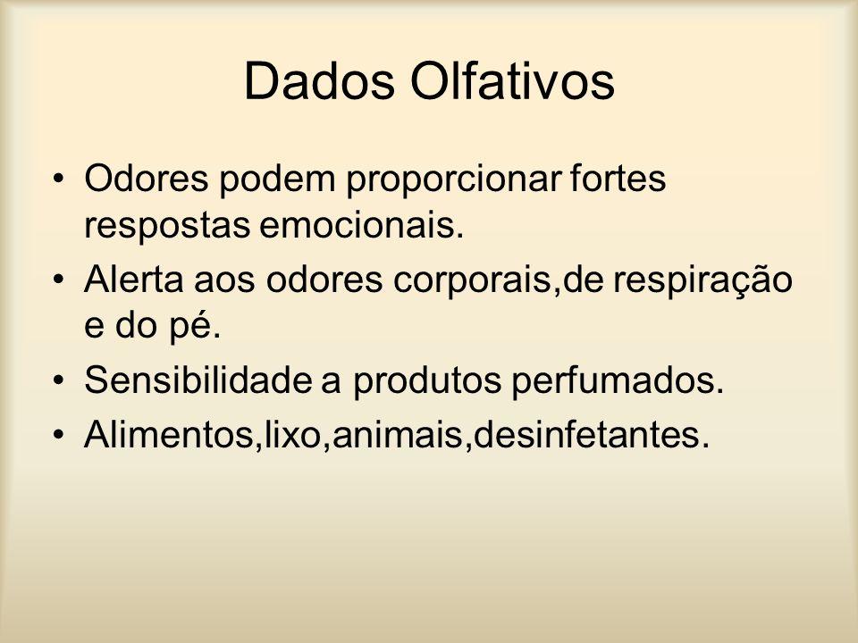 Dados Olfativos Odores podem proporcionar fortes respostas emocionais. Alerta aos odores corporais,de respiração e do pé. Sensibilidade a produtos per