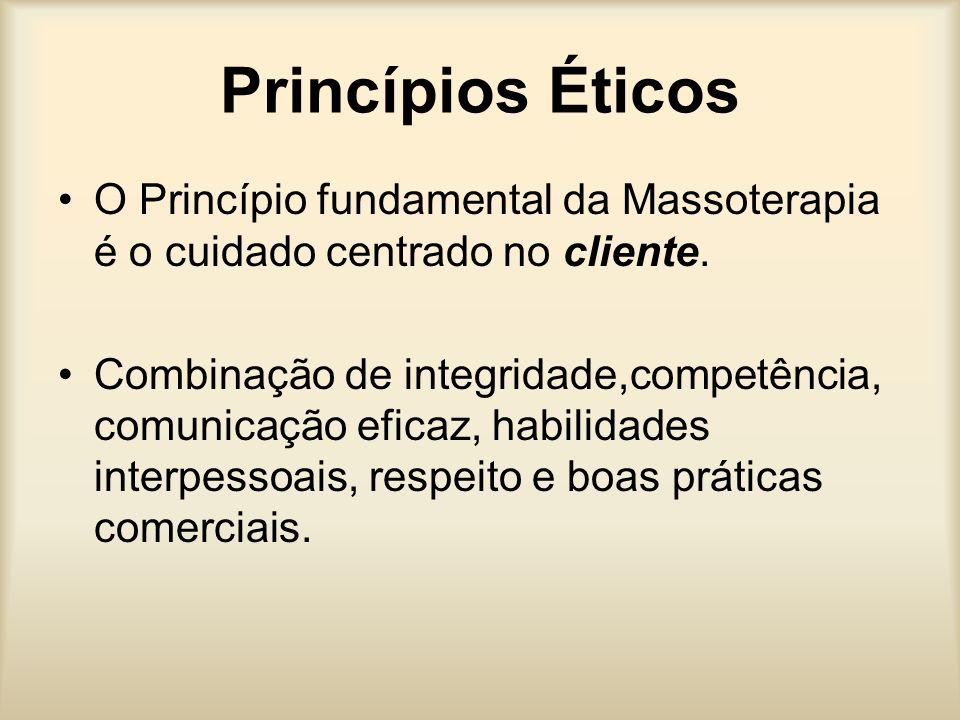 Princípios Éticos O Princípio fundamental da Massoterapia é o cuidado centrado no cliente. Combinação de integridade,competência, comunicação eficaz,