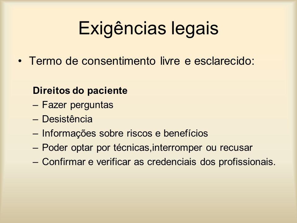 Exigências legais Termo de consentimento livre e esclarecido: Direitos do paciente –Fazer perguntas –Desistência –Informações sobre riscos e benefício