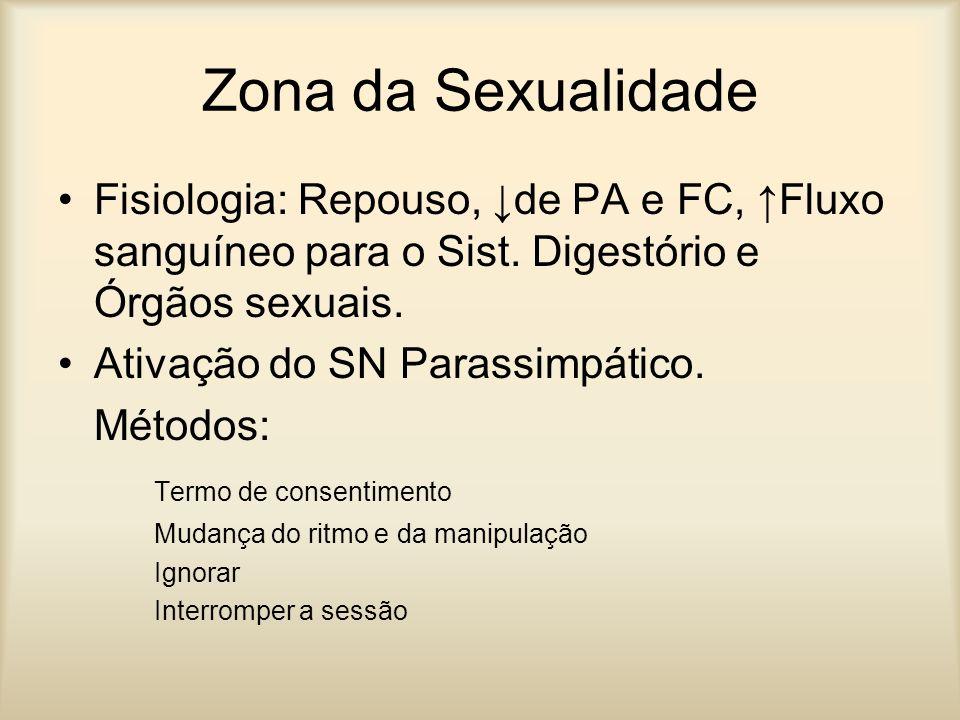 Zona da Sexualidade Fisiologia: Repouso, de PA e FC, Fluxo sanguíneo para o Sist. Digestório e Órgãos sexuais. Ativação do SN Parassimpático. Métodos:
