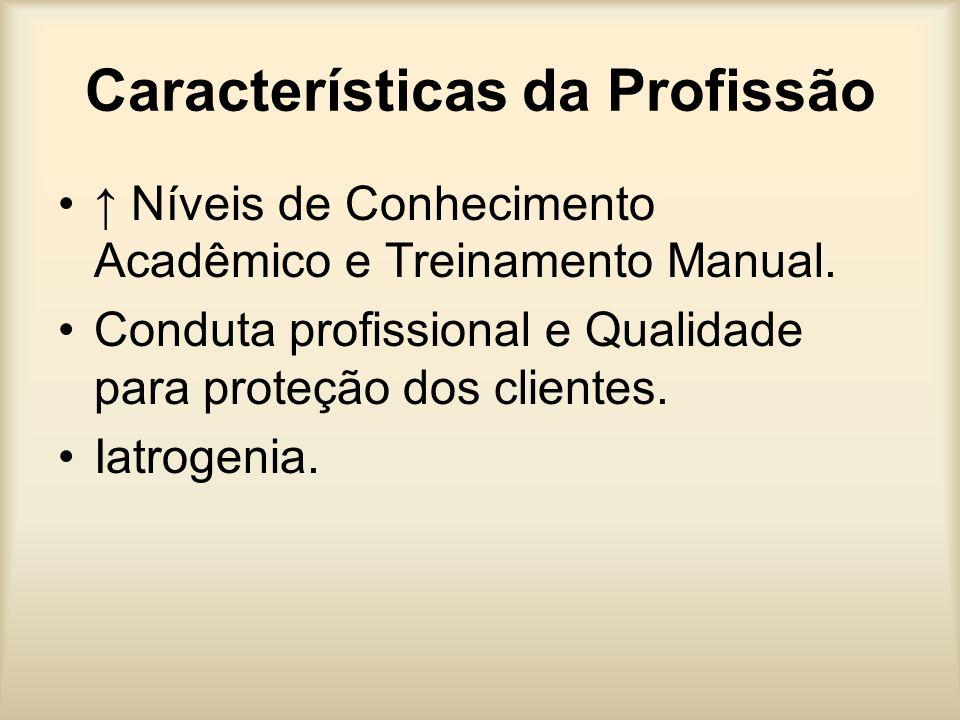 Características da Profissão Níveis de Conhecimento Acadêmico e Treinamento Manual. Conduta profissional e Qualidade para proteção dos clientes. Iatro