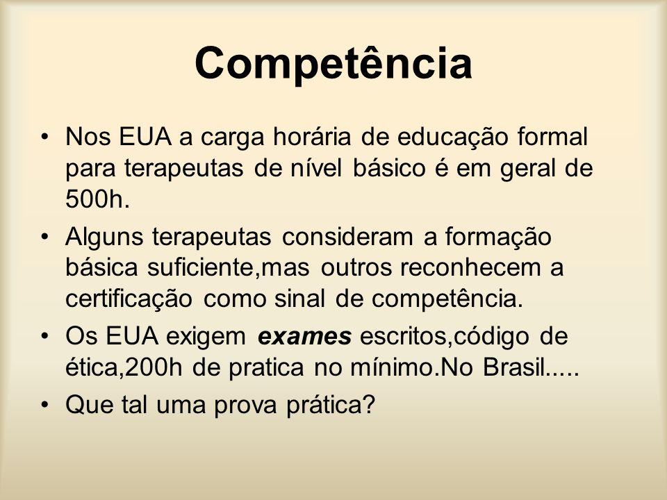Competência Nos EUA a carga horária de educação formal para terapeutas de nível básico é em geral de 500h. Alguns terapeutas consideram a formação bás