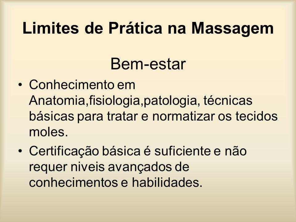 Limites de Prática na Massagem Bem-estar Conhecimento em Anatomia,fisiologia,patologia, técnicas básicas para tratar e normatizar os tecidos moles. Ce